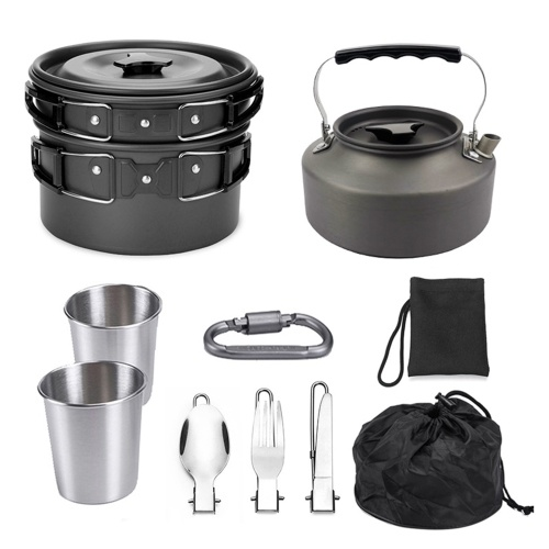 10pcs Camping Cookware Mess Kit 2-3 Persons Lightweight Kettle Pot Pan with 2 Cups Fork Spoon Kit Backpacking Gear for Outdoor Camping Picnic Backpacking Hiking