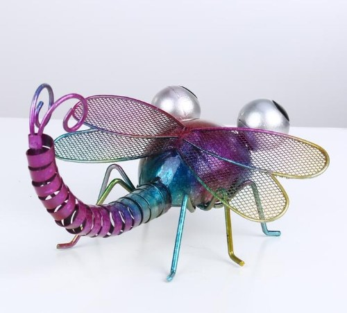 Tooarts Dragonfly Wall Decoration Iron Cartoon Dragonfly Tabletop Decoration Garden or Children's Room Decor Natural Style Colorful фото