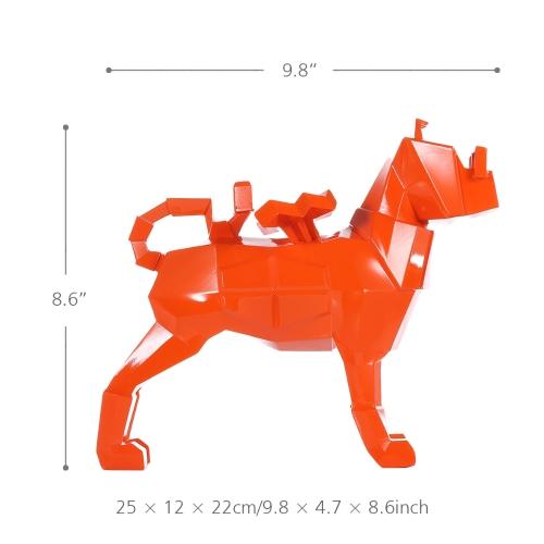 TOMTOP / Tomfeel Glasses Dog Orange Resin Sculpture Home Decor Modern Art