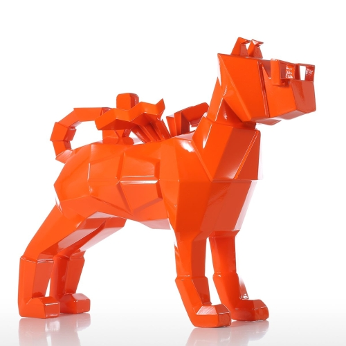 Tomfeel Glasses Dog Orange Resin Sculpture Home Decor Modern Art