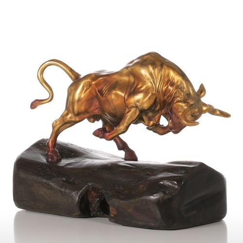 Непрекращающийся крупный рогатый скот Золотой ручной работы Бронзовая скульптура Современное искусство Домашний декор