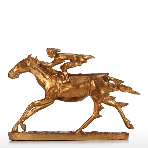Knight Knight On Cavalry Horse Figurine Sculpture Decor Collectible Statues Gift Gold