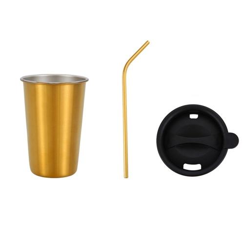 500 ml 304 taza de acero inoxidable taza de café bebida fría conjunto de tapa de paja