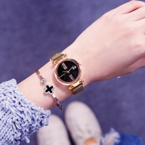 Women Fashion Brilliant Starry Night Dial Watch Lady Simple Exquisite Quartz Wrist Watch