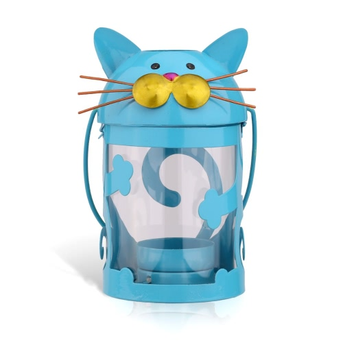 Cat candle holder(blue) Hurricane lamp Practical ornament Creative ornament  Home Furnishing Articles