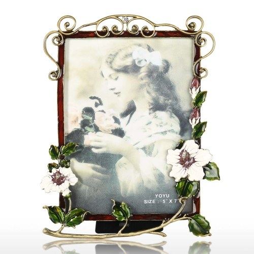 Picture Frame with Branches and Flower Decoration Photo Display for Tabletop Desktop Fit for Stands Vertically