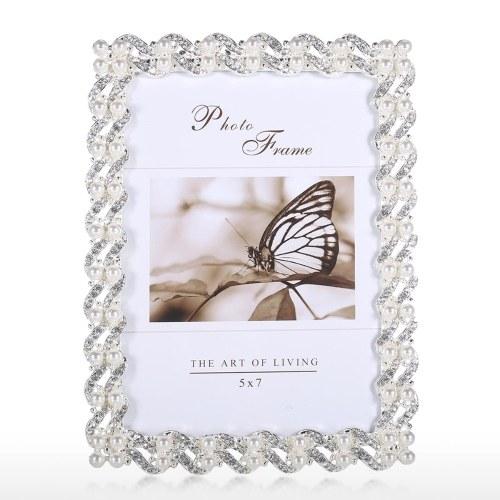 Marco para fotos hecho de plata chapada en diamante sintético y perla y vidrio para mesa de exhibición