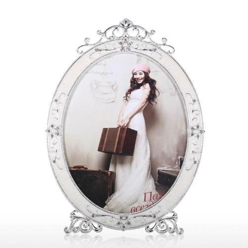 Cadre de photo ovale Cadre de photo en métal Affichage de table Accueil Cadre de mariage photo Anniversaire pour la famille Nouveau Couple