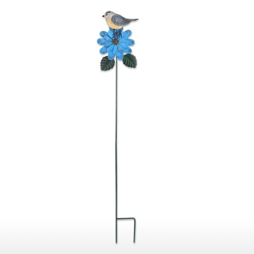 Large Garden Bird and Flower Stake Goldfinch Blue Stake Creative Iron Yard Stake Fall Decor Outdoor Lawn Decoration