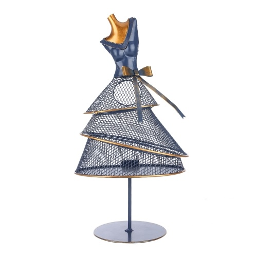 Tooarts Wine Cork Holder Evening Dress Model Decoration Multifunctional Iron Container Modern Art Ornament Cabinet or Desk Decor Perfect Gift Blue