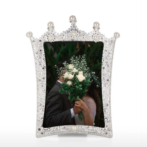 Tooarts jewelry photo frame aluminum material mosaic diamond and pearl handmade desktop decoration photo frame