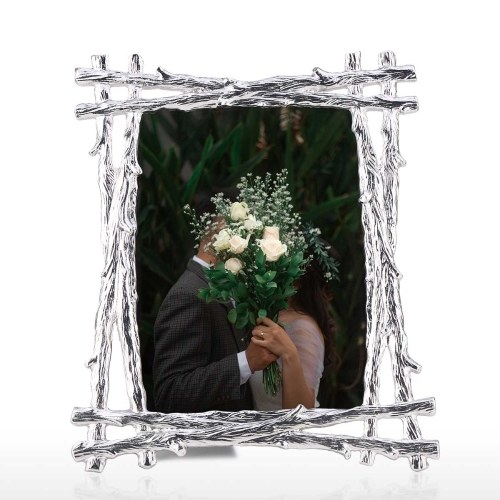Tooarts Imitation Wood Photo Frame Aluminum Alloy Material Farmhouse Style Handmade Tabletop Decorative Photo Frame Real Clear Glass Front Cover 5*7