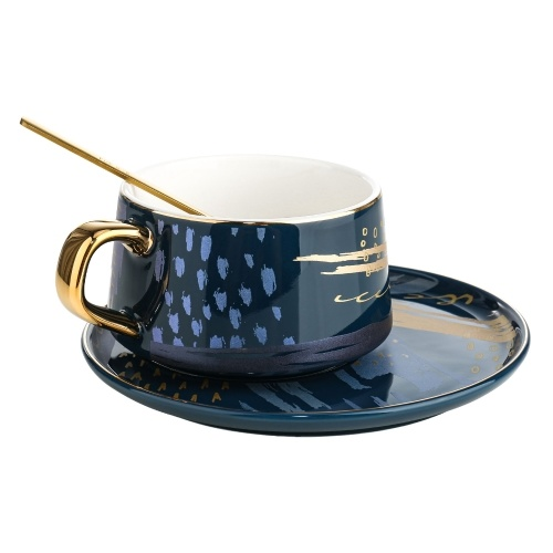 Tooarts Coffee Cup and Saucer Set Ceramic Tea Cup Gift Packaging 304 Steel Spoon Cups for Office or Home Using 4 Colors