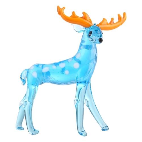 Tooarts Glass Deer Sculpture Handmade Glass Artworks Blue Reindeer Brown Sika Deer Gift Package Home Decoration Colorful