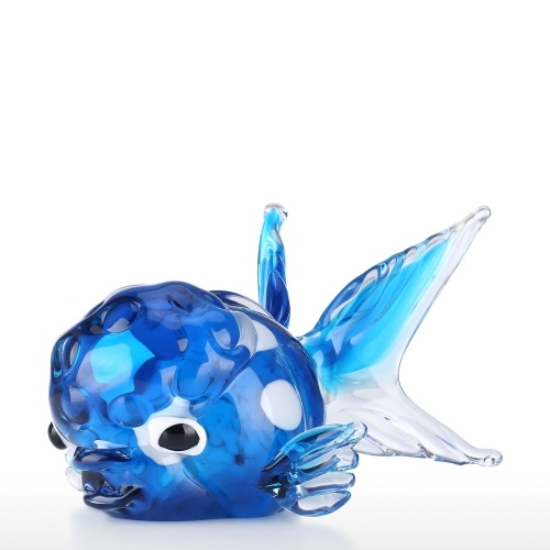 Poisson en verre bleu avec tête en forme de verre Art Handblown Art de la mer Animal Figurine Home Office Decor