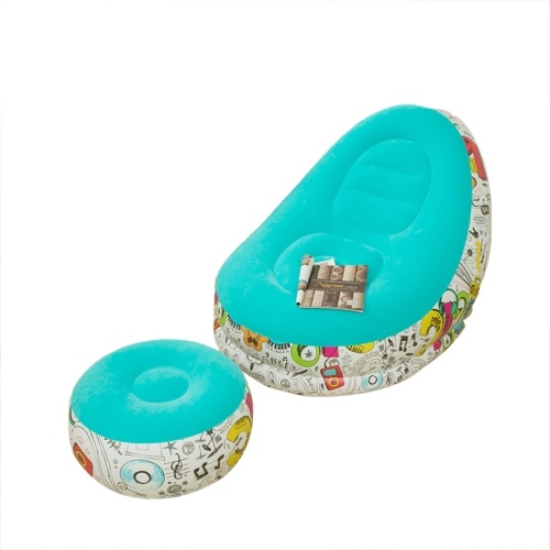 Inflatable Sofa Chair and Portable Footstool with Graffiti Patterns Contoured Lazy Sofa with Ottoman Blow up Thickened Flocking Leisure Sofa Couch in Macaron Colors Indoor Outdoor Home Bedroom