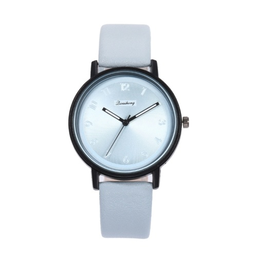 Lady Fashion Simple Quartz Watch Women Casual Alloy Case Leather Band Wrist Watch