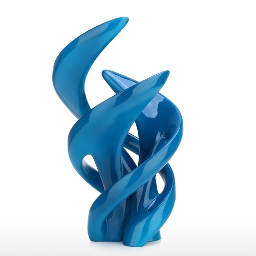 The Life of Dancing Elegant Resin Abstract Crafts Curly Lines Environmental Friendly Resin Blue Metal Painting Surface