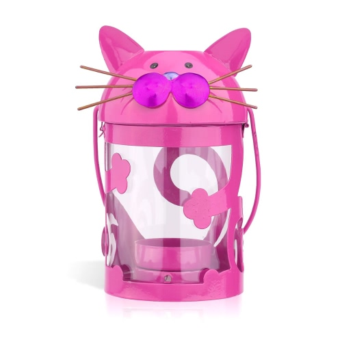 Cat candle holder(pink) Hurricane lamp Practical ornament Creative ornament  Home Furnishing Articles