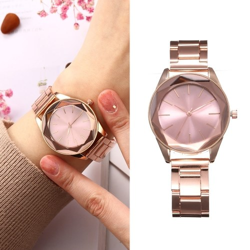 Women Fashion Simple Stainless Steel Case Alloy Band Watch