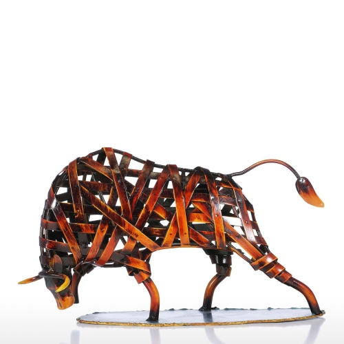 Tomtop coupon: Tooarts Metal Weaving Cattle Red Iron Sculpture Figurine Modern Home Decor Animal Craft