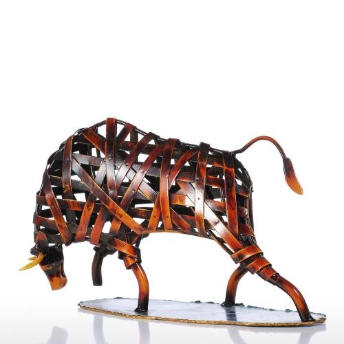 Tooarts Металл Плетение Крупный рогатый скот Красная железа Скульптура Статуэтка Современный домашний декор Животное Craft