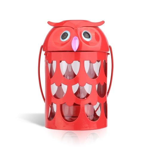 Owl candle holder(red) Hurricane lamp Practical ornament Creative ornament Home Furnishing Articles