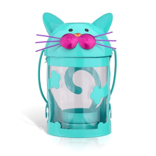 Cat candle holder(light blue) Hurricane lamp Practical ornament Creative ornament  Home Furnishing Articles