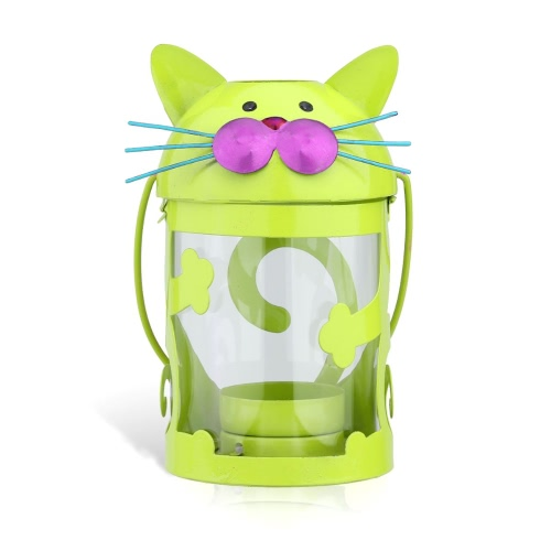 Cat candle holder(green) Hurricane lamp Practical ornament Creative ornament  Home Furnishing Articles