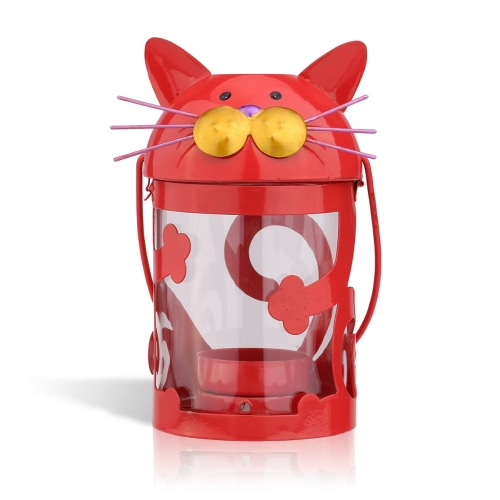 Cat candle holder(red) Hurricane lamp Practical ornament Creative ornament  Home Furnishing Articles