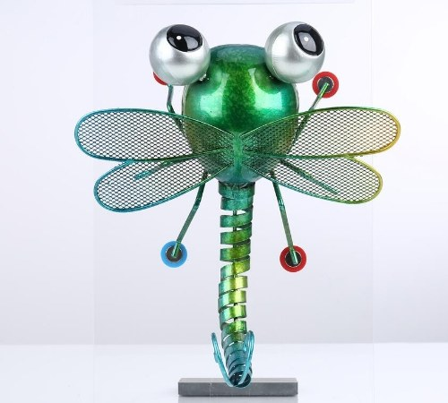 Tooarts Dragonfly Wall Decoration Iron Cartoon Dragonfly Tabletop Decoration Garden or Children's Room Decor Natural Style Green