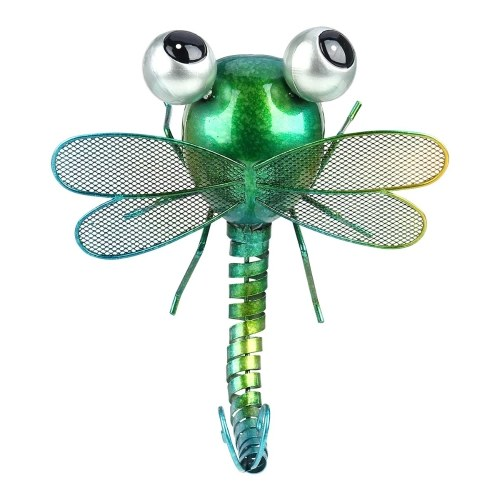 Tooarts Dragonfly Decoración de pared Hierro Cartoon Dragonfly Decoración de mesa Jardín o decoración de la habitación de los niños Estilo natural Verde