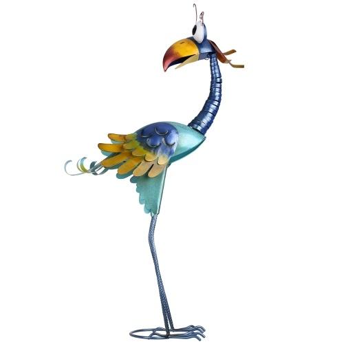 Tooarts 31.2inch Cartoon Toucan Sculpture, Iron Bird Sculpture, Garden Decoration, Standing Animal Ornament, Artwork for Backyard Patio Lawn Green