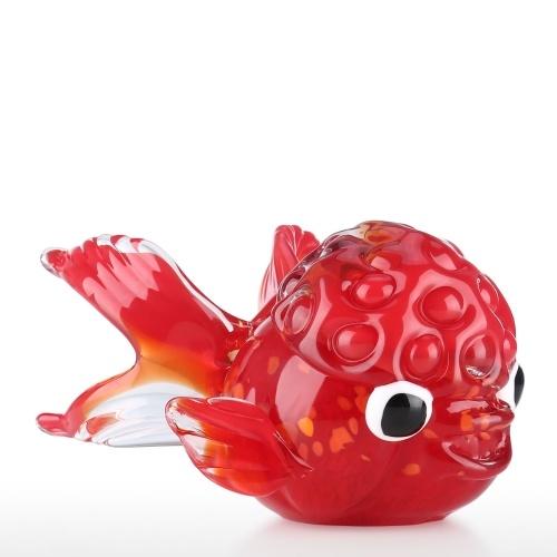 Red Glass Fish with Lion Shaped Head Glass Handblown Art Sea Animal Figurine Home Office Decor