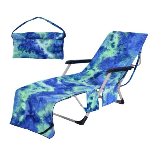 Chaise Lounger Pool Chair Cover Beach Chair Cover Towel with Side Storage Pockets Tie-dye