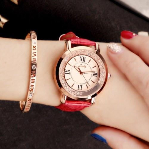 Frauen-elegante vorzügliche Uhren arbeiten PU-lederne Band-Quarzuhr um