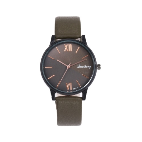Women Fashion Leather Band Watch Simple Casual Alloy Case Quartz Watch