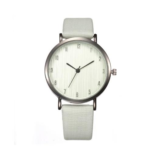 Women Fashion Simple Wood Veins Leather Band Alloy Case Quartz Wrist Watch