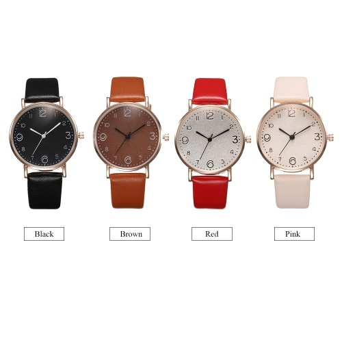 Lady Fashion Simple Quartz Watch Student Casual Leather Band Alloy Case Wrist Watch