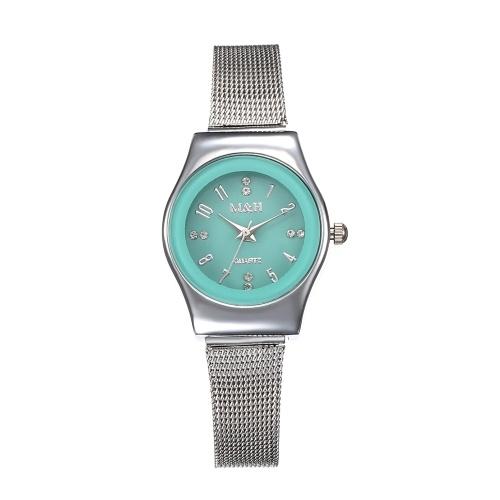 Moda aço inoxidável malha banda relógio