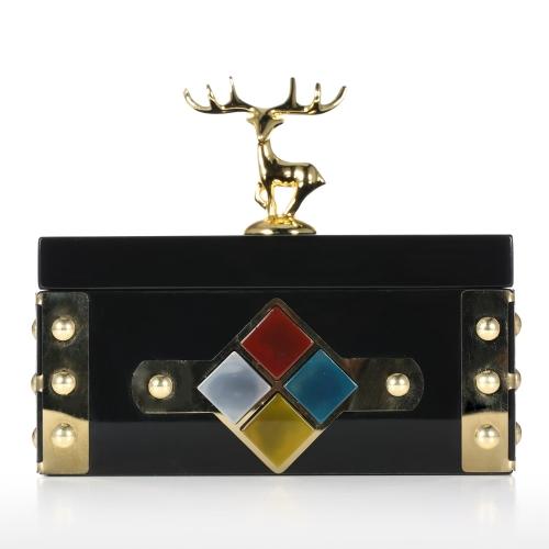 Rectangular Jewelry Box (Gold - Deer) Storage Case Wooden Ring Necklace Storage Box Birthday Gifts for Women Black Velvet