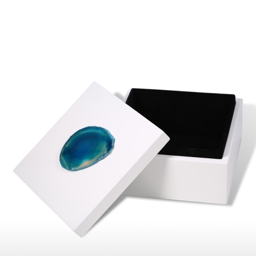 Square Jewel Box (Blue Agate-large Size) Agate Decoration Wooden Ring Necklace Storage Box Birthday Gifts for Women Black Velvet