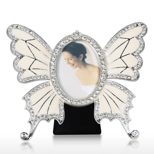 Rhinestone Decorated Ellipse Scalewing Design Vintage Metal Photo Frame Home Decor Desktop Picture Frame Table Top Frame