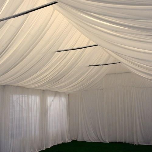 Rideaux complets velum décoration nylon finition brillant habillage chapiteau salle réception