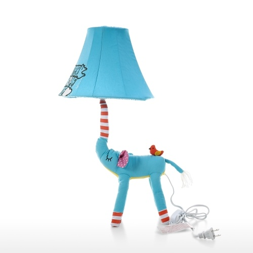 Blue Elephant Lamp US Plug Animal Lamp Kids Table Lamp Night Light for Kids Lampshade for Children Bedroom Nursery Room without Led Bulb