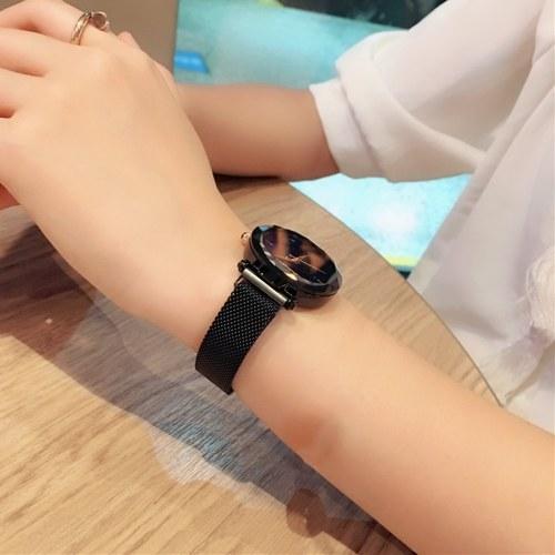 Image of Sternenhimmel weibliche armbanduhr analog quarz armbanduhr armband magnetische mesh band für damen