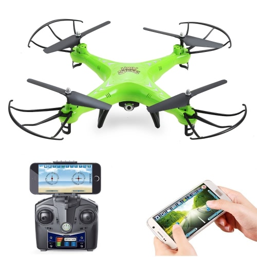 Holy Stone HS110 FPV RC Drone avec appareil photo 720P HD Live Video WiFi 2.4GHz 4CH 6 axes Gyro RC Quadcopter avec Altitude Hold, One Key Return et Headless Mode Function RTF, Couleur Vert