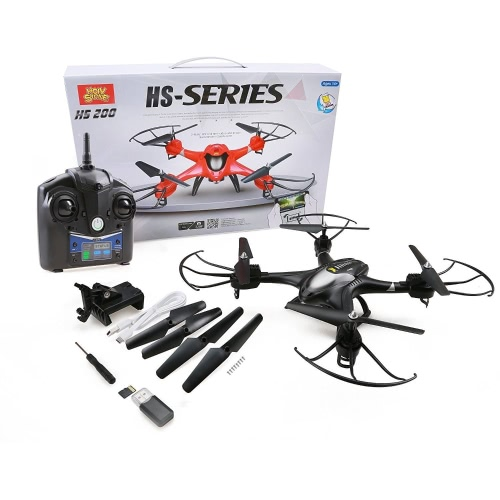 Holy Stone HS200 FPV RC Drone avec HD Wifi Camera Live Feed 2.4GHz 4CH 6-Axis Gyro Quadcopter avec Altitude Hold, capteur de gravité et headless Mode RTF Helicopter, Color Black