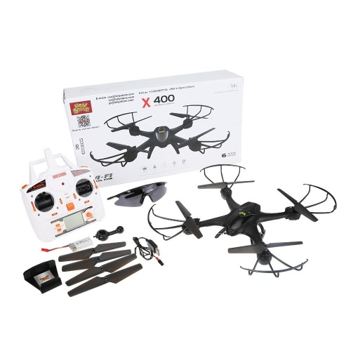 Holy Stone X400C FPV RC Quadcopter Drone com câmera Wifi Vídeo ao vivo Uma chave Função de retorno Modo Headless 2.4GHz 4 canais 6 Eixos Gyro RTF Pacote de modo esquerdo e direito com óculos de proteção