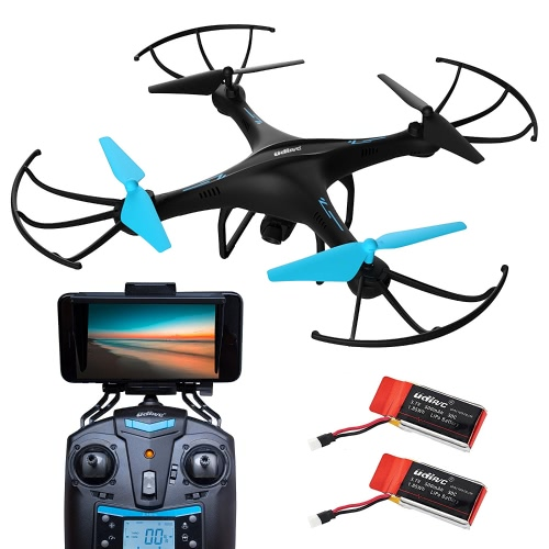 Force1 U45W Blue Jay Wi-Fi FPV Drone w / HD Camera, Altitude Hold & 1-Key Takeoff / Landing; VR Headset-Compatible Drone w / Customizable Route Mode